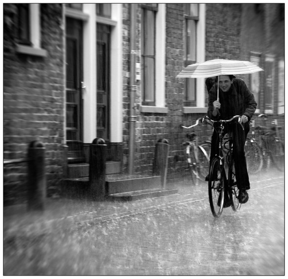 Cyclist in cold rain 2017